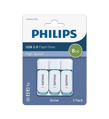 Pen Drive 008Gb Usb 2.0 Philips Pack 3 - DTI-8G-20-PACK3