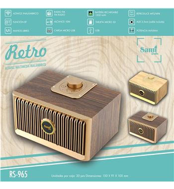 Sami Altavoces Multimedia BT Retro Madera 10w RS-965 - RS-965