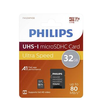 Tarjeta Memoria MicroSD 032Gb C10 Philips SD-32G10 - SD-32G10A1-PHILIPS