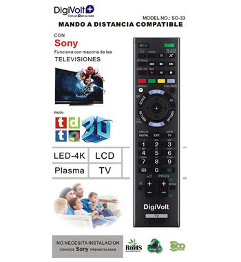 Digivolt Mando Universal Para Sony SO-33 - MD SO-33 SONY ONE TO ONE REMOTE