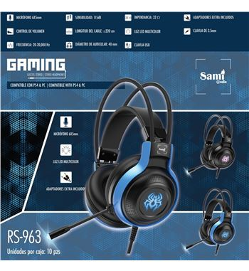 Sami Auriculares Gaming Luz Ps4 Usb RS-963 - RS-963