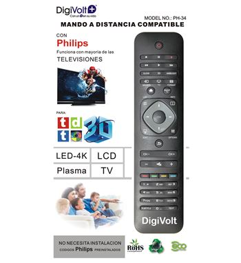 Digivolt Mando Universal Para Philips PH-34/PH-42 - MD PH-34 PHILIPS ONE TO ONE REMOTE
